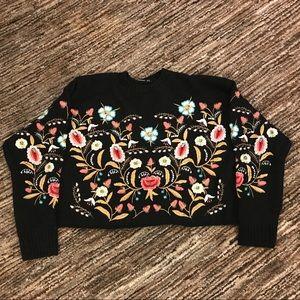 Vkozen size 6 embroidered crop sweater